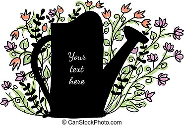 Watering can with flowers in the background