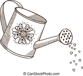 Watering can with flowers. Sketch vector design element for Valentine's day