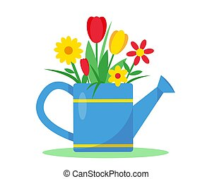 Watering can with flowers vector illustration.