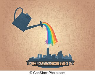 watering can with rainbow