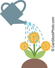 Watering flowers in garden centre nature plant summer blooming vector.