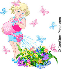 Watering Flowers - Vector illustration of a cute little girl...