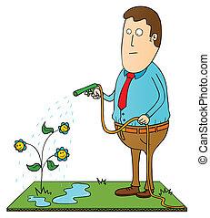 watering happy flowers