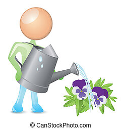 watering humanoid - humanoid watering flowers with a ...