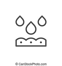 Watering line outline icon and soil concept