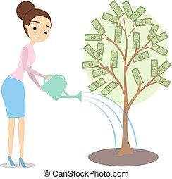 Watering money tree.