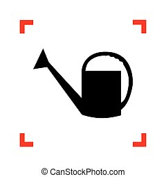 Watering sign. Black icon in focus corners on white background.