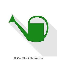 Watering sign. Green icon with flat style shadow path.