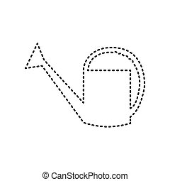 Watering sign. Vector. Black dashed icon on white background. Isolated.