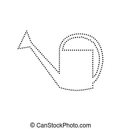 Watering sign. Vector. Black dotted icon on white background. Isolated.