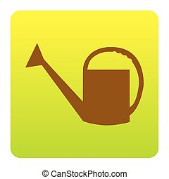 Watering sign. Vector. Brown icon at green-yellow gradient square with rounded corners on white background. Isolated.