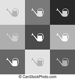 Watering sign. Vector. Grayscale version of Popart-style icon.