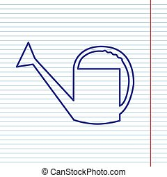 Watering sign. Vector. Navy line icon on notebook paper as background with red line for field.