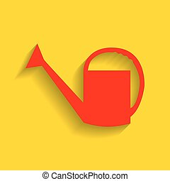 Watering sign. Vector. Red icon with soft shadow on golden background.