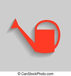 Watering sign. Vector. Red icon with soft shadow on gray background.