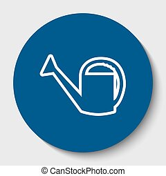 Watering sign. Vector. White contour icon in dark cerulean circle at white background. Isolated.