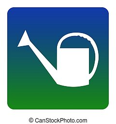 Watering sign. Vector. White icon at green-blue gradient square with rounded corners on white background. Isolated.