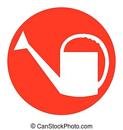 Watering sign. Vector. White icon in red circle on white background. Isolated.