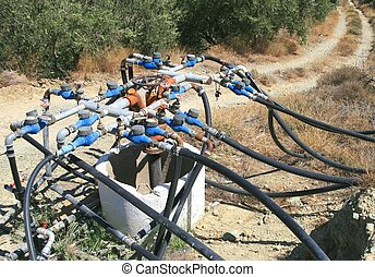 Watering system for the dry soil of cretan olive fields
