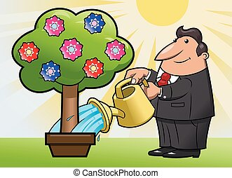 Watering the flower tree 3