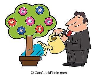 Watering the flower tree 4