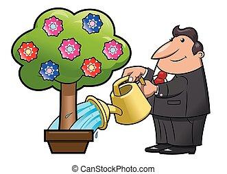 Watering the flower tree