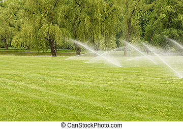 Sprinkler system is watering the lawn.
