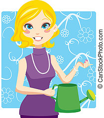 Watering Woman - Blonde woman holding a green watering can...