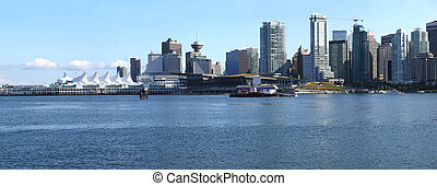 waterkant, vancouver skyline, panorama., bc