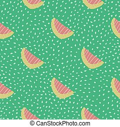Waterlemon slices seamless doodle pattern. Fruit shapes in pink color on light turquoise background with dots.