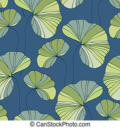 waterlily seamless flower tropical pattern vector ...