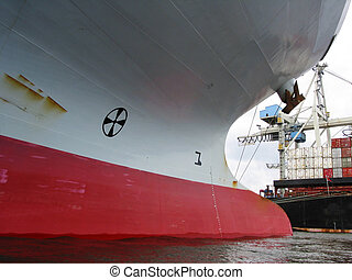 waterline of an empty containership - waterline at the bow...