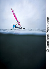 waterline with frontview windsurfer - frontview windsurfer...