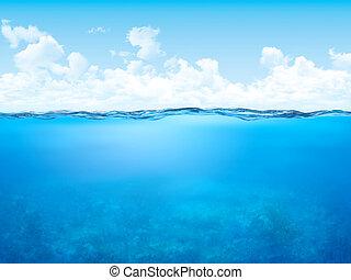 waterline, y, submarino, plano de fondo