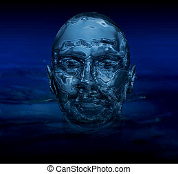 Artistic abstract Image of a man's face made of shiny water