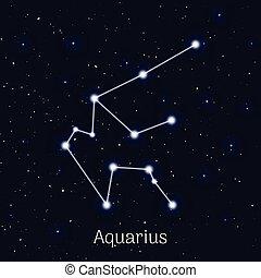 waterman, hemel, meldingsbord, realistisch, achtergrond, nacht, zodiac