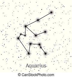 waterman, hemel, meldingsbord, realistisch, achtergrond, zodiac, witte
