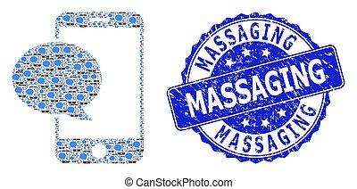 watermark, ラウンド, メッセージ, smartphone, モザイク, recursion, アイコン, 傷付けられる, マッサージ