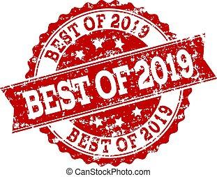 watermark, 切手, シール, 2019, グランジ, 赤, 最も良く