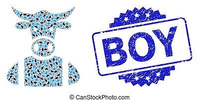 watermark, garçon, fractal, mosaïque, icône, détresse, vache