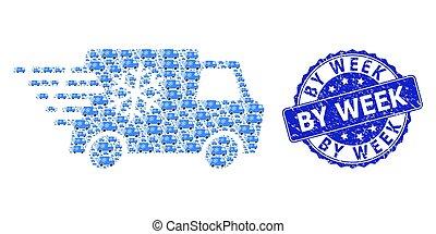 watermark, semaine, rond, voiture, mosaïque, textured, recursion, icône, réfrigérateur