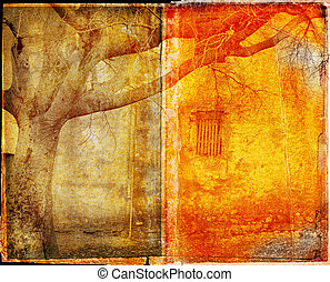 watermarked grunge book spread - orange burnt edge book...