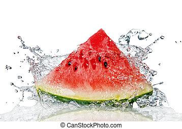 watermeloen, en, water, gespetter, vrijstaand, op wit