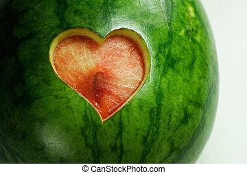 watermeloen, met, hart, knippen