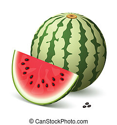 Watermelon - A delicious watermelon and a slice