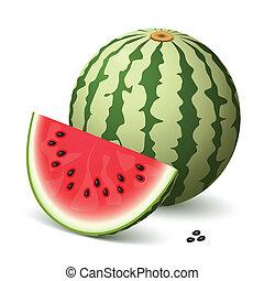 A delicious watermelon and a slice