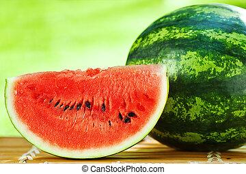 Watermelon against natural background closeup