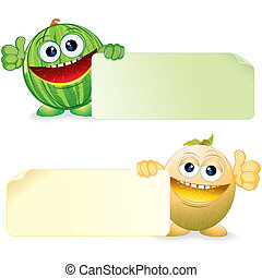 Watermelon and Melon. Vector Cartoon Illustration
