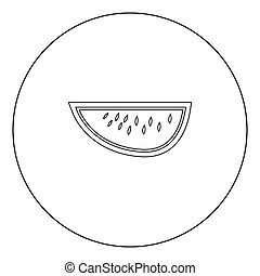 Watermelon black icon in circle vector illustration isolated .