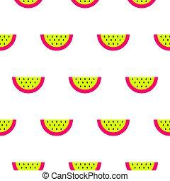 Watermelon bright neon seamless vector pattern.